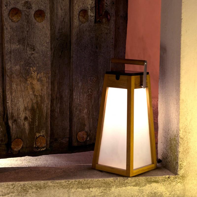 Lampe solaire en teck
