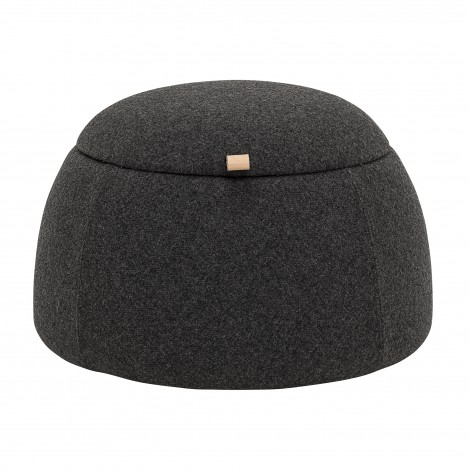 Pouf rock anthracite en laine